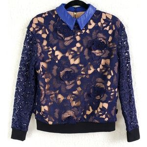 Self-Portrait Blue Nude 3D Embroidered Lace Top